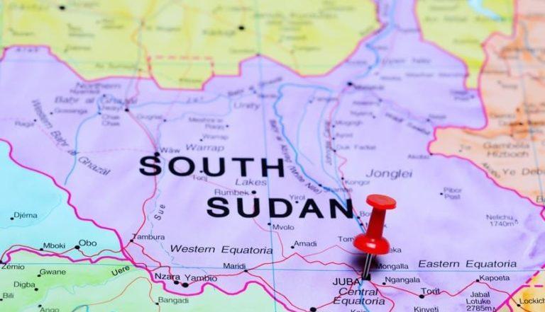 Une carte du Soudan du Sud avec une épingle sur Juba, la capitale
