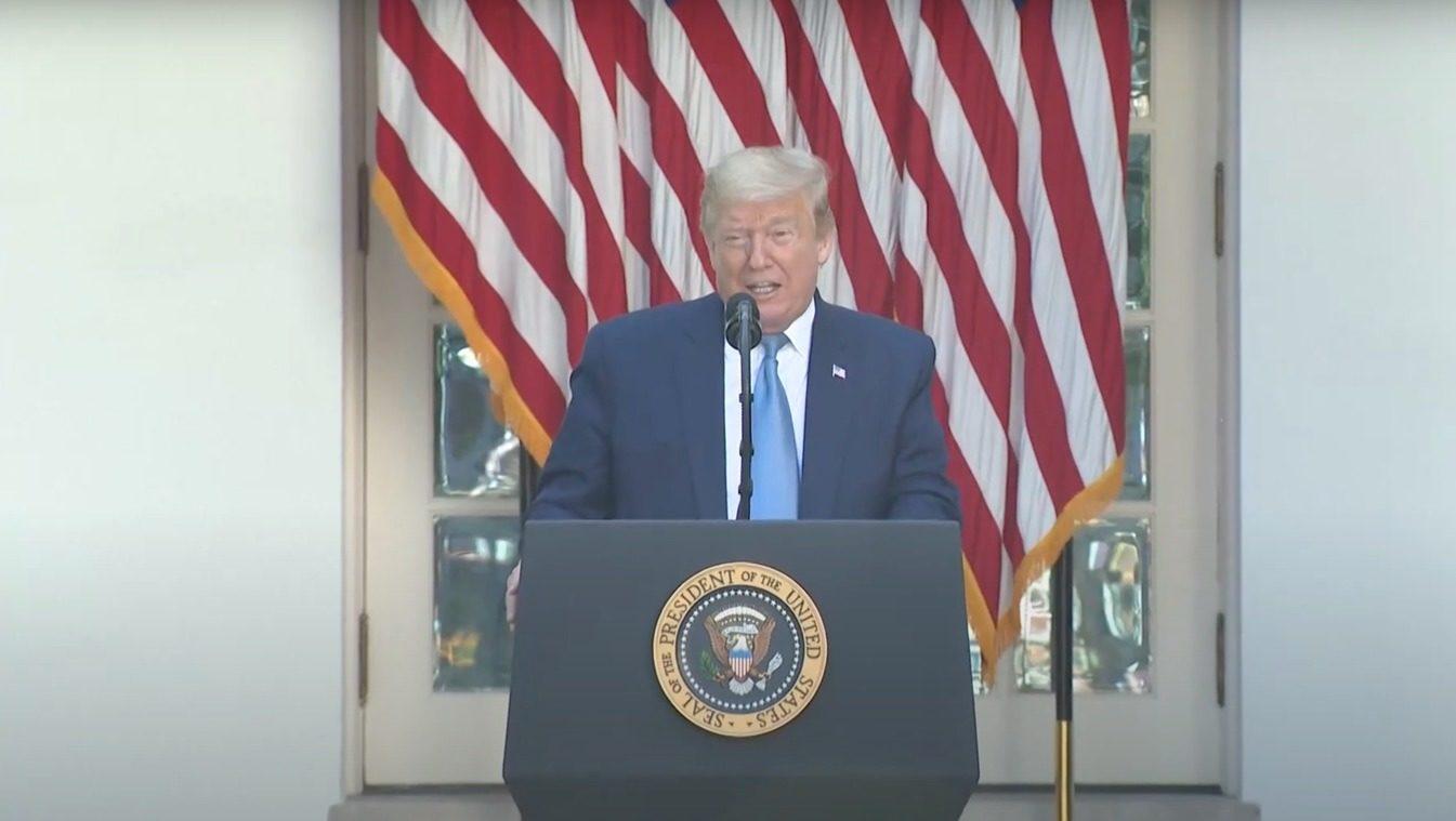 Donald Trump lors d'une allocution donnée au Rose Garden le 15 juin