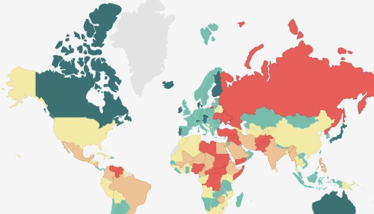 Une carte du monde des pays les plus pacifiques.