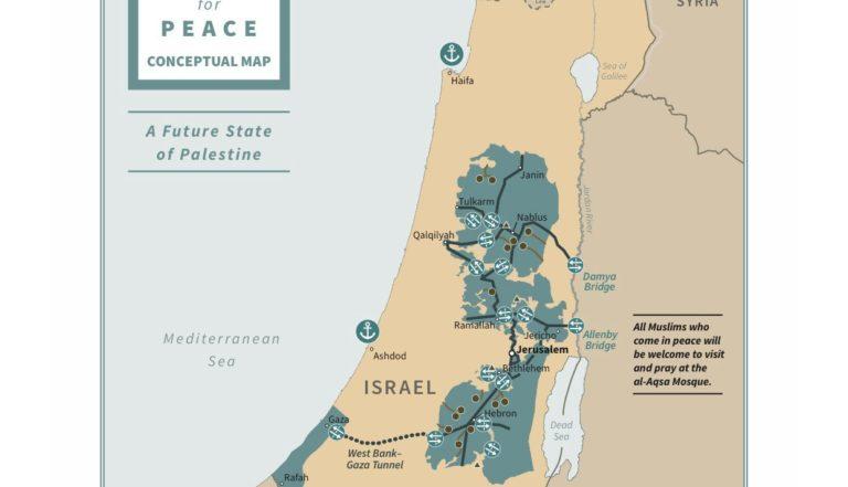 Carte présentant les frontières d'Israël et de la Palestine telles que proposées par le plan de paix de Donald Trump