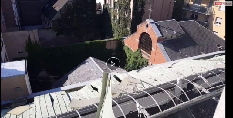 Le toit d'une salle de sport et celui d'une chapelle évangélique méthodiste endommagés par une explosion