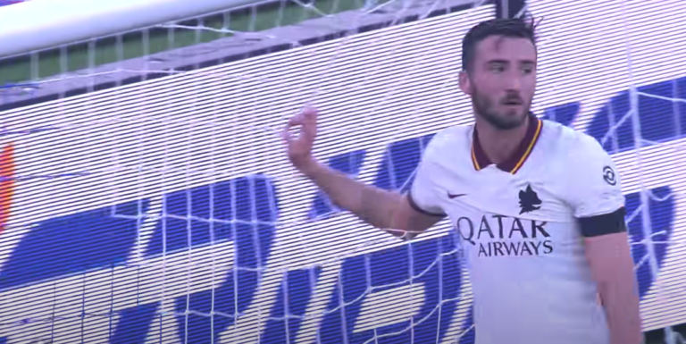 Le footballeur Bryan Cristante après son but contre son camp face à Bologne