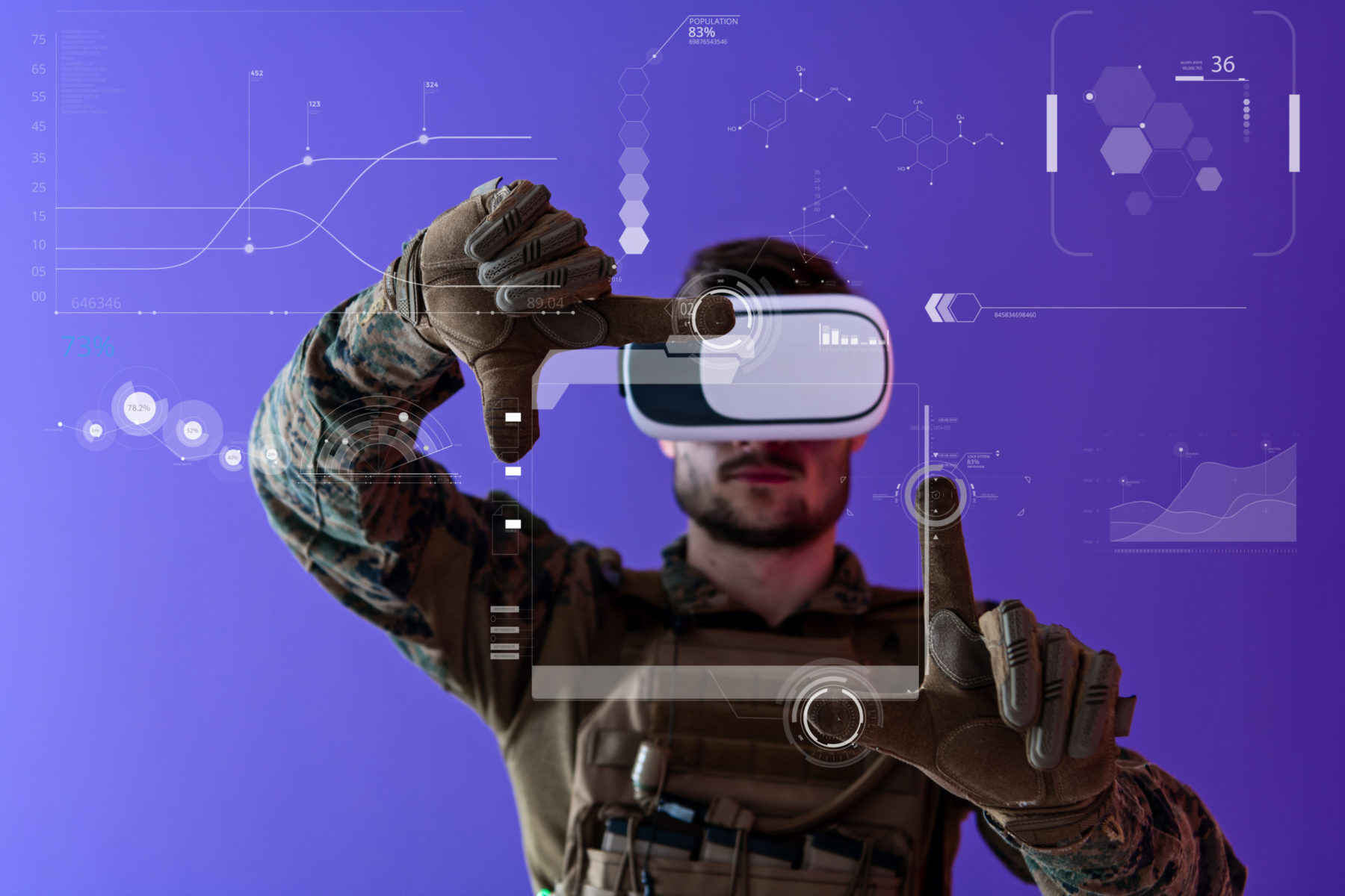 Soldat utilisant de nouvelles technologies