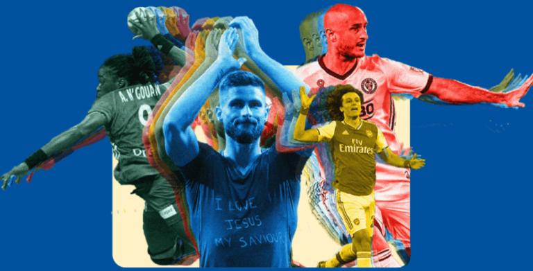 Les athlètes Olivier Giroud, David Luiz, Aurélien Collin et Astride N'Gouan