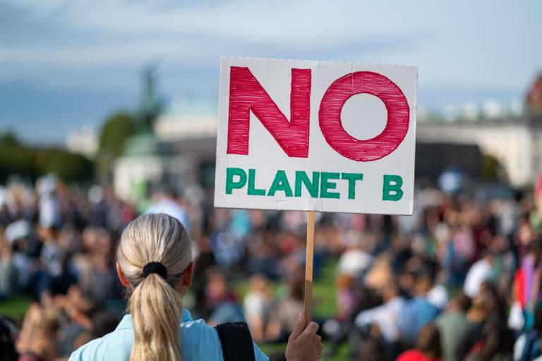 """Une femme de dos tenant un pancarte """"No planet B"""" lors d'une manifestation pour le climat en 2019"""