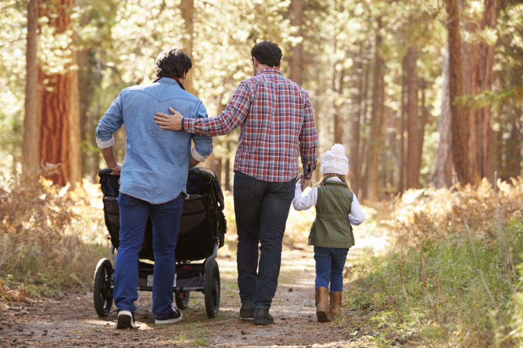 Un couple d'hommes se promenant avec une poussette et un enfant à travers une forêt
