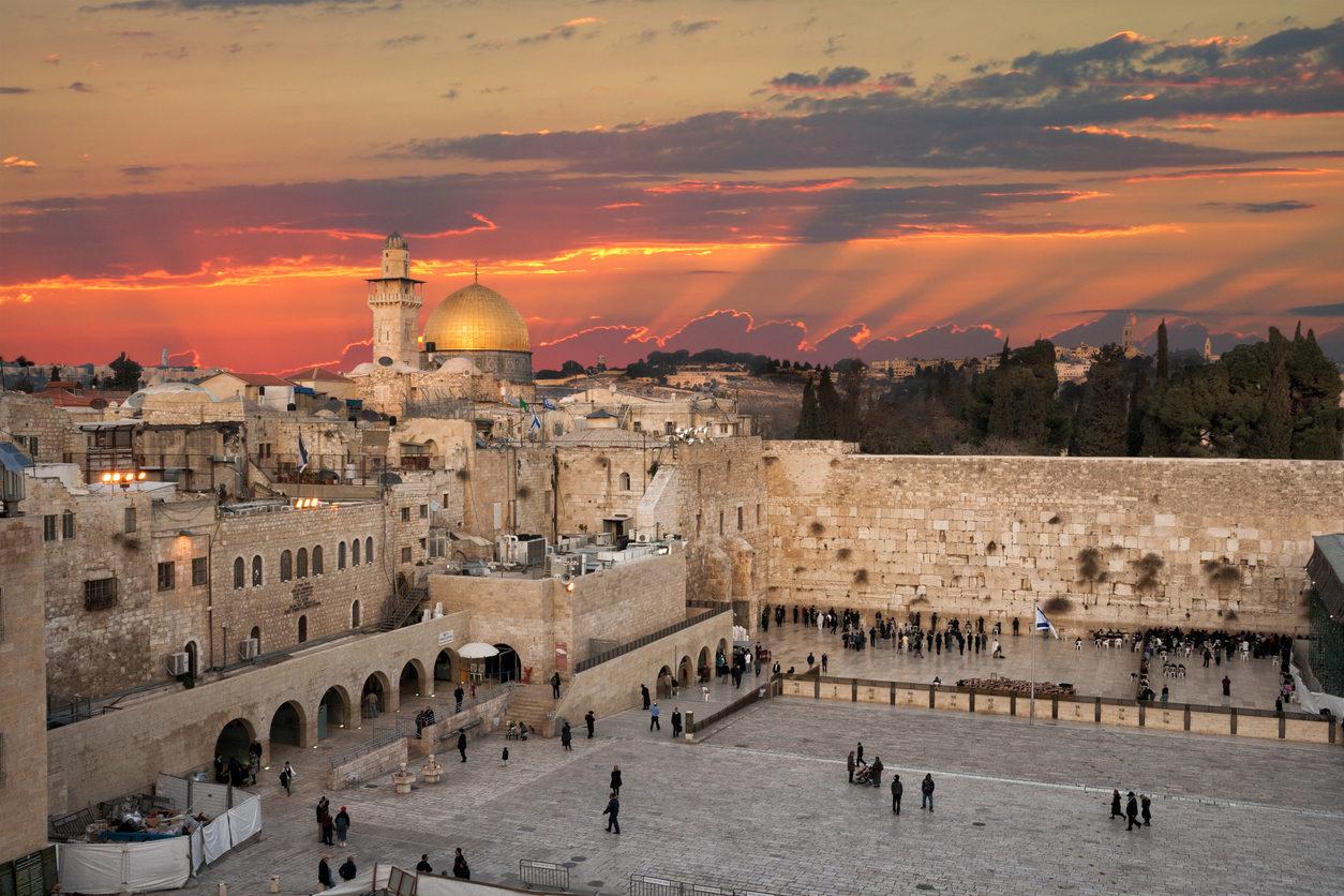 Mur des lamentations Jerusalem au coucher du soleil