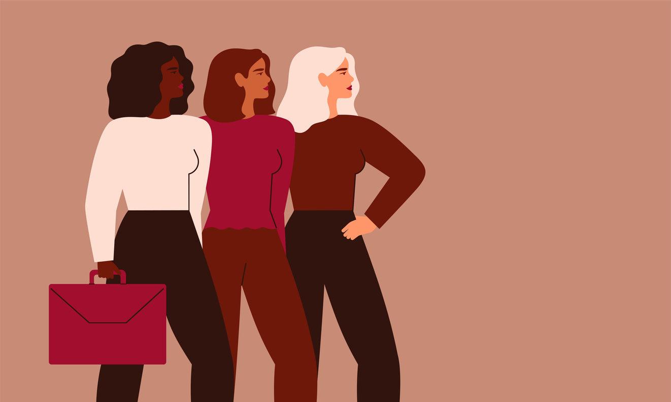 Dessin : Des femmes d'affaire debout ensemble