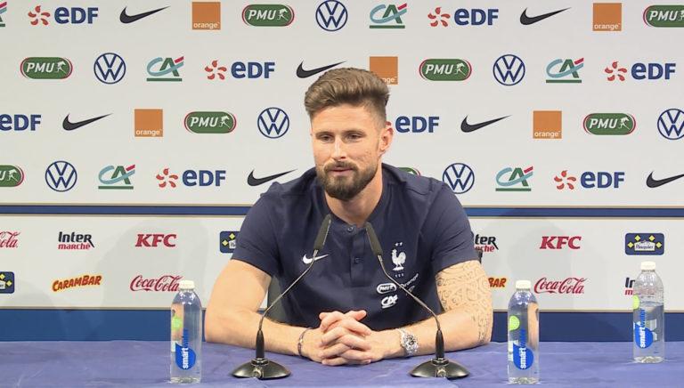 Olivier Giroud lors de la conférence de presse du 6 juin 2021.