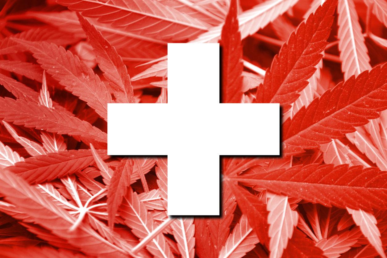 Drapeau de la Suisse sur fond de cannabis. Politique de la drogue. Légalisation de la marijuana