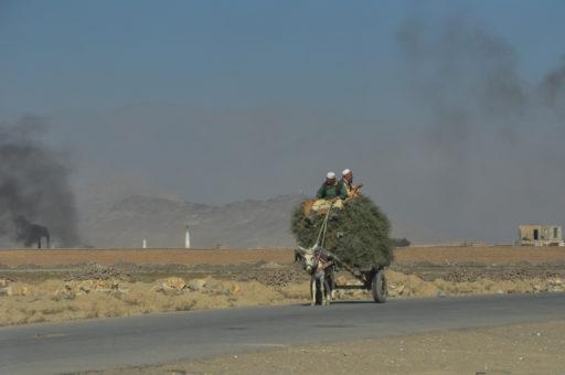 Des agriculteurs sur une charrette tirée par un âne, assis sur un tas de foin. Une fumée noire sort des usines de briques en arrière-plan, paysage afghan près de Kaboul