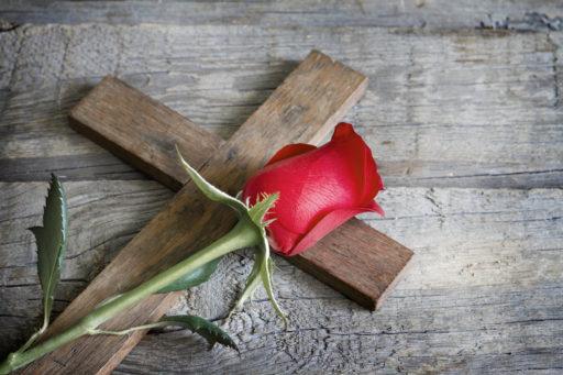 Une rose rouge posée sur une croix en bois plate