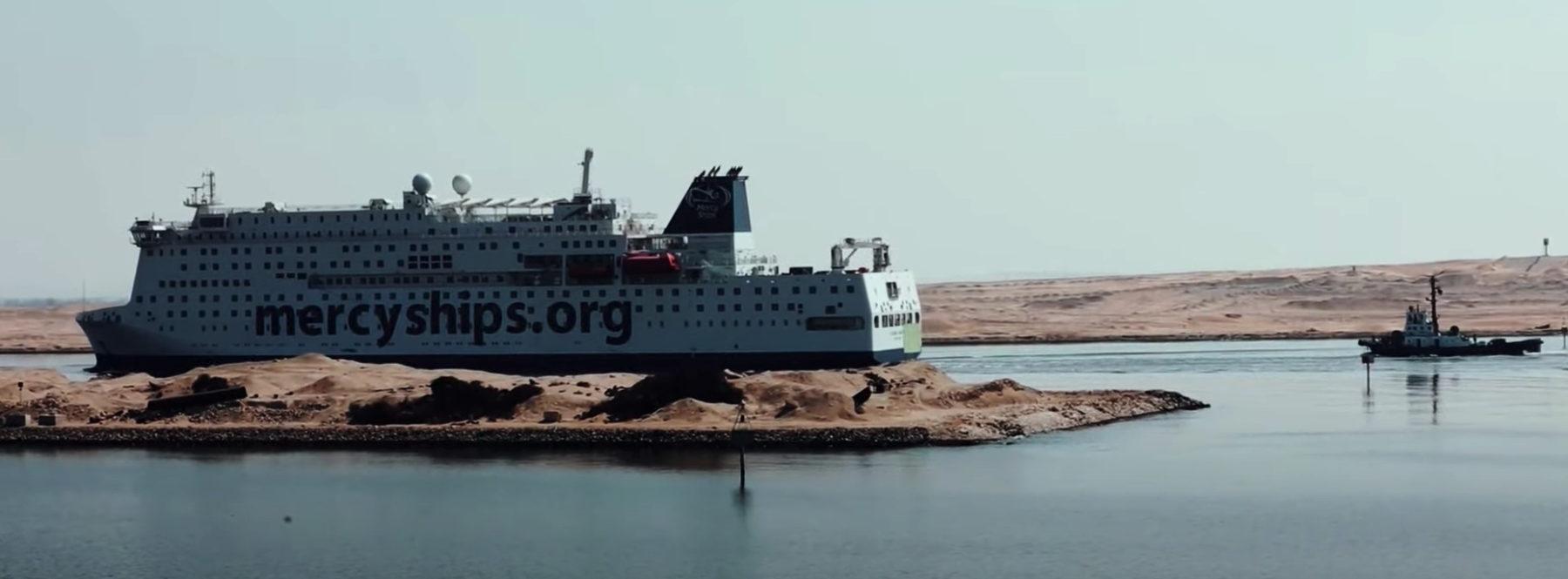 Le Global Mercy, nouveau navire-hôpital de l'ONG chrétienne Mercy Ships a traversé le canal de Suez le 28 août et accostera dans le port d'Anvers en Belgique le 12 septembre.